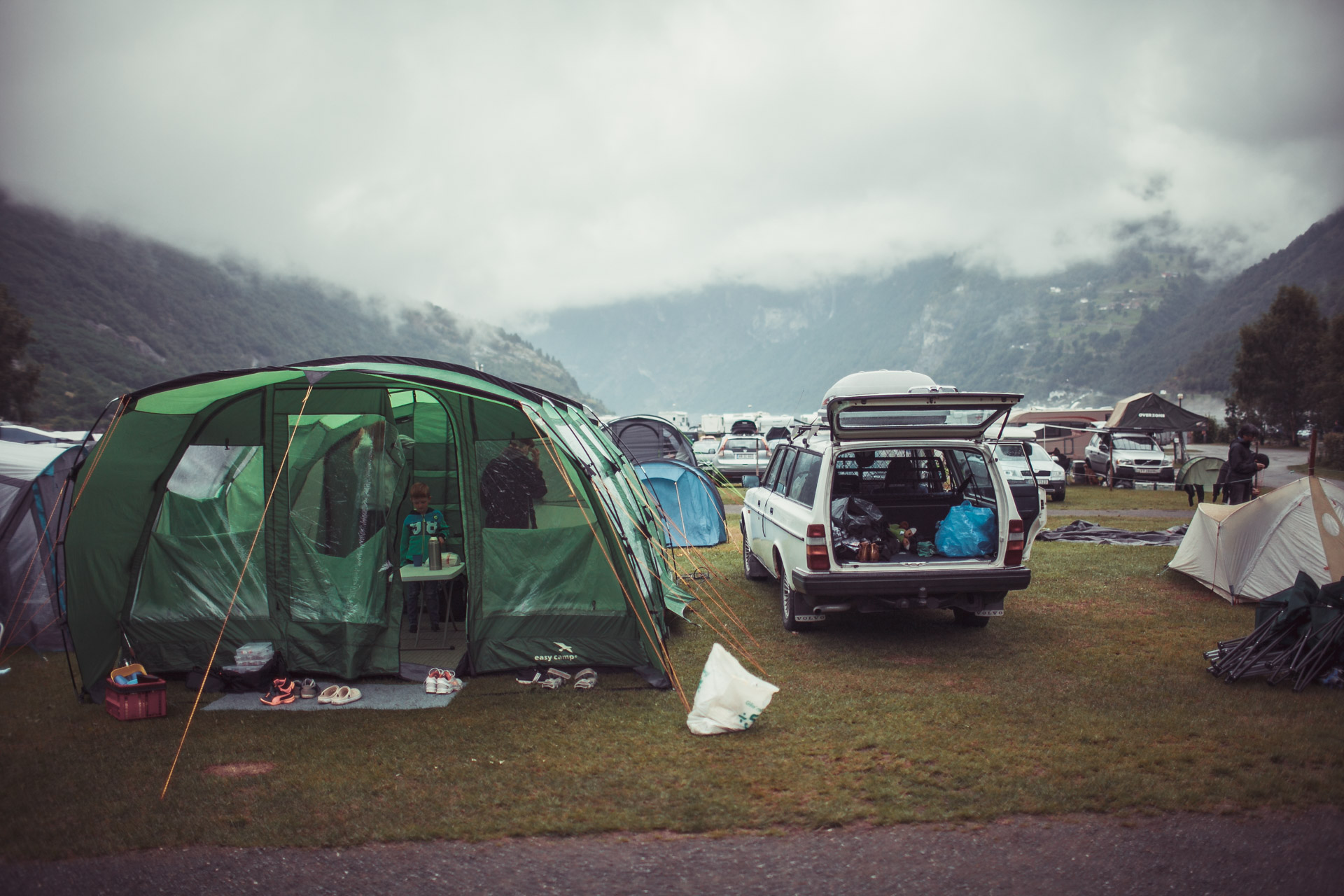 Camping in Geiranger camping grounds