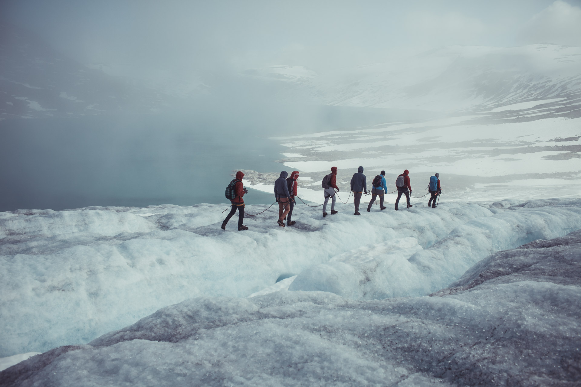 Our group traversing the 1000 year old glacier.